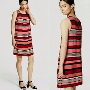 Loft shift dress red pink black stripe sleeveless
